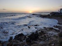 Coucher du soleil de Corfou Photographie stock libre de droits