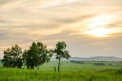 Coucher du soleil de cramoisi d'été Photo stock