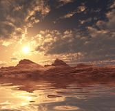 Coucher du soleil de désert Photo stock