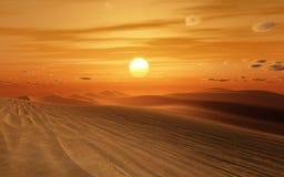 Coucher du soleil de désert