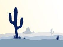 Coucher du soleil de désert de cactus illustration stock
