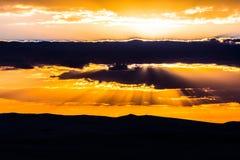 Coucher du soleil de désert de Siwa Photo stock