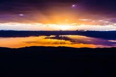 Coucher du soleil de désert de Siwa Image stock