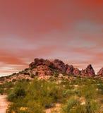 Coucher du soleil de désert de Sonora Photo stock