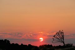 Coucher du soleil de désert, Namibie Image stock