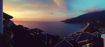 Coucher du soleil de Da Nang panoramique image libre de droits