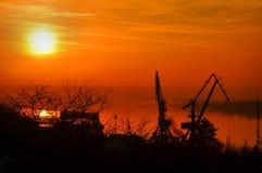 Coucher du soleil de Danube Photo stock