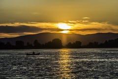 Coucher du soleil de Danube Photographie stock libre de droits