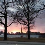 Coucher du soleil de Detroit image libre de droits