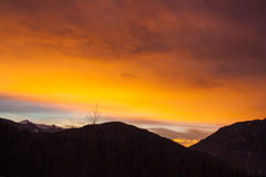 Coucher du soleil de Dolomiti Image stock
