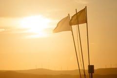Coucher du soleil de drapeau Photographie stock libre de droits