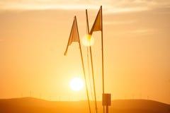 Coucher du soleil de drapeau Images stock