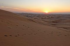 Coucher du soleil de Dubaï Photographie stock libre de droits