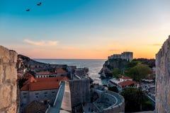 Coucher du soleil de Dubrovnik Photographie stock libre de droits