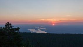 Coucher du soleil de film de laps de temps avec la vue du fleuve Columbia à Portland Orégon 1080p Photo stock