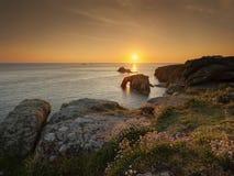 Coucher du soleil de fin de terres Photographie stock libre de droits