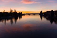coucher du soleil de fleuve de l'Allemagne le Rhin Photographie stock