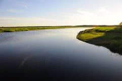 Coucher du soleil de fleuve de Myakka Photographie stock