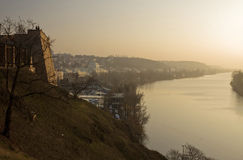 coucher du soleil de fleuve de Prague d'horizontal Photo stock