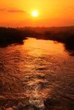 Coucher du soleil de fleuve Jourdain Image libre de droits