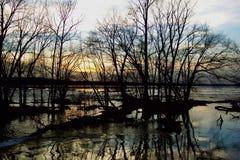 Coucher du soleil de fleuve Potomac photos libres de droits