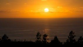 Coucher du soleil de Flores, Açores Image libre de droits