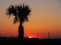 Coucher du soleil de Galveston. Image libre de droits