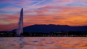 Coucher du soleil de Genève Image libre de droits