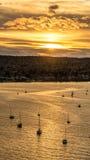 Coucher du soleil de Goden Photos stock