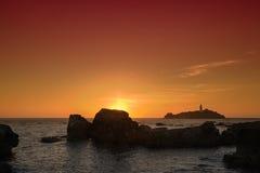Coucher du soleil de Godrevy Photo libre de droits