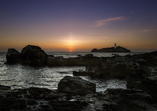 Coucher du soleil de Godrevy Photographie stock