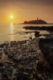 Coucher du soleil de Godrevy Images stock