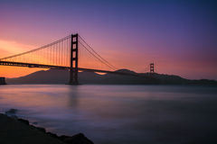 Coucher du soleil de golden gate bridge Image libre de droits