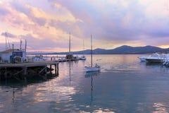Coucher du soleil de Golfo Aranci image stock