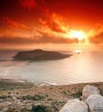 Coucher du soleil de Gramvousa Images libres de droits
