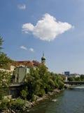 Coucher du soleil de Graz Photos stock