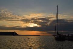 Coucher du soleil de Green Bay Images libres de droits