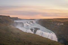 Coucher du soleil de Gullfoss en Islande photo stock