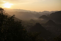 Coucher du soleil de Ha Giang Photo stock