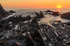 Coucher du soleil de Hartland Quay photos libres de droits