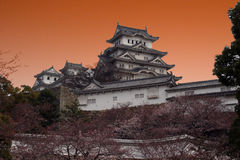 Coucher du soleil de Himeji Images libres de droits