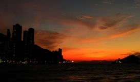 Coucher du soleil de Hong Kong Photos libres de droits