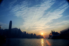 Coucher du soleil de Hong Kong Photo stock