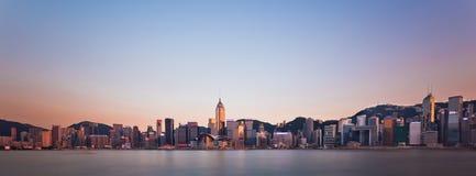 Coucher du soleil de Hong Kong Skyline images libres de droits