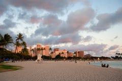 Coucher du soleil de Honolulu Images libres de droits