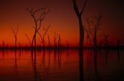 Coucher du soleil de Kariba de lac, Zimbabwe Photos libres de droits