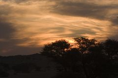 Coucher du soleil de Kgalagadi Photo stock