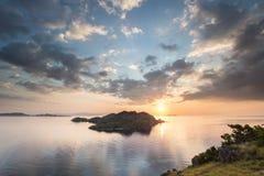 Coucher du soleil de Komodo Photographie stock