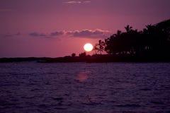 Coucher du soleil de Kona Photos stock