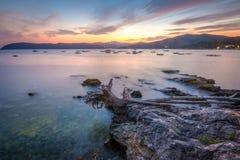 Coucher du soleil de l'île de l'Île d'Elbe, Italie Photos stock